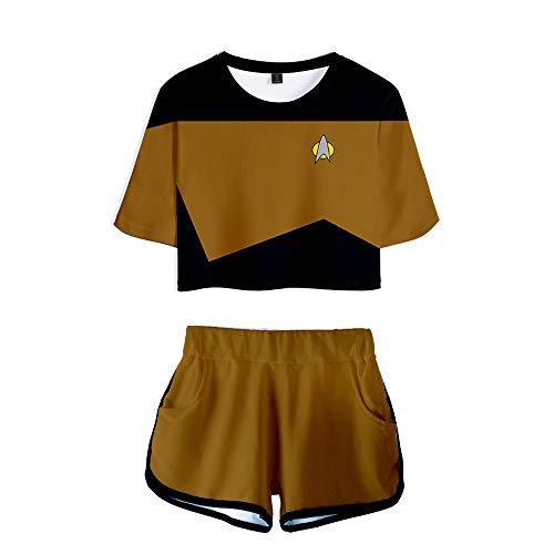 Conjunto de disfraz de Star Trek de dos piezas para mujer, camiseta y pantalones cortos, capitn Kirk Spock Cosplay Top