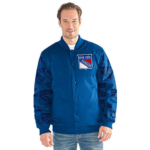 STARTER Adult Men NHL Varsity Bomber Jacket New York Rangers, 6X, Royal