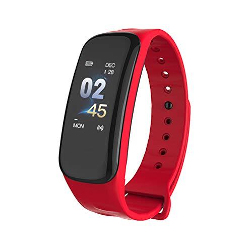 VEVICE 1PC C1s Fitness Tracker, Smartwatches con Pulsómetro Monitor de Paso Contador de Actividad Pulsera Inteligente con IP67 Impermeable Bluetooth Podómetro Monitor de Sueño, Rojo, As Shown