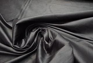 Black Shantung Dupioni Faux Silk Fabric Per Yard