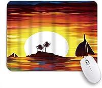 MISCERY マウスパッド 美しい海のヤシの木に夕方のヨットに沈む風景イラスト太陽 高級感 おしゃれ 防水 端ステッチ 耐久性が良い 滑らかな表面 滑り止めゴム底 24cmx20cm
