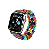 PLTGOOD Beads Bracelet Watch Strap Apple Watch Band + 6 Pairs Stainless Steel Stud & Hoop Earring Dangle Cross Earrings for Men Women
