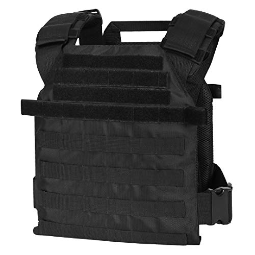 """WarTechGears Tactical Fast Vest 11""""X14"""" MOLLE and PALS Fully Adjustable Law Enforcement (Black)"""