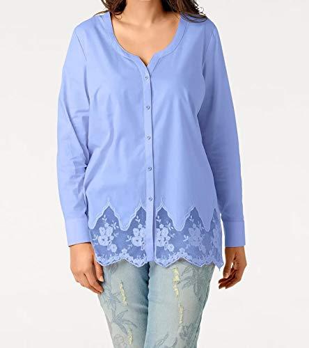 Patrizia DINI Bluse Stickerei-Bluse modernes Damen Langarm-Shirt Freizeit-Bluse Frühlings-Bluse mit transparentem Saum Blau, Größe:44