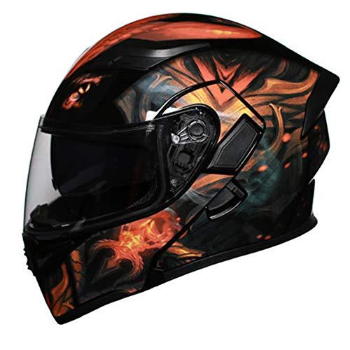 Casco de Doble Visor Bluetooth de Motocicleta, Seguridad de Campo Abierto Abierta de Doble Lente Casco de montaña, anticolisión, Transpirable, extraíble y Lavable-M