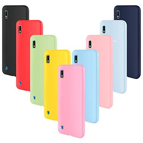 ivencase 9 × Funda Samsung Galaxy A10, Carcasa Fina TPU Flexible Cover para Samsung Galaxy A10 (Rosa Gris Rosa Claro Amarillo Rojo Azul Oscuro Translúcido Negro Azul Claro)
