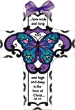 Joan Baker Designs Blue Butterfly Love of Christ Cross Stained Glass Suncatcher (SX2014R)