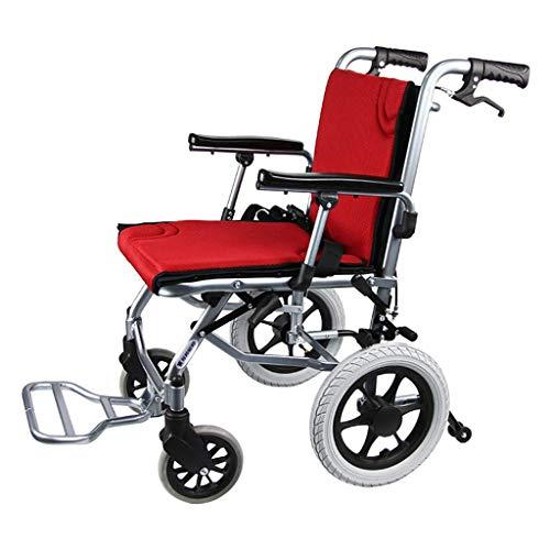 WRJY Rollstuhl Manueller Rollstuhl aus Aluminiumlegierung, Leichter, zusammenklappbarer, tragbarer Rollstuhl, Leichter Transportstuhl, für ältere Menschen geeignet, Behinderte, Rot