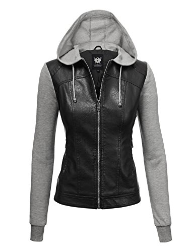 Lock and Love LL WJC1347 Womens Faux Leather Zip Up Moto Biker Jacket with Hoodie M Black_H.Grey