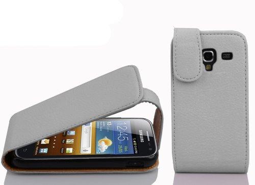 Cadorabo Hülle für Samsung Galaxy ACE 2 in Magnesium WEIß - Handyhülle im Flip Design aus Strukturiertem Kunstleder - Hülle Cover Schutzhülle Etui Tasche Book Klapp Style