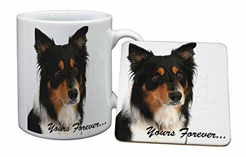 Advanta - Mug Coaster Set Tri-Color Border Collie Dog \ für Immer Dein.\ Becher und Untersetzer Tier W
