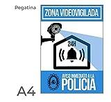 Pegatina alarma disuasoria color azul Apto para uso exterior. Diseño carteleria disuasoria para alarmas, cámaras de vigilancia. Evitar robos con cartel antes de entrar a robar