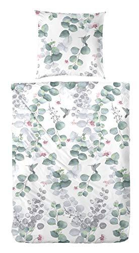 Primera Bettwäsche Satin grün-Mauve-weiß Größe 135x200 cm (80x80 cm)