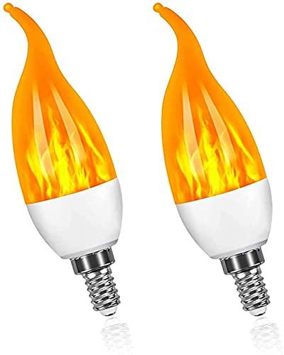 Lámpara de Llama fría con Cola de tracción E14 Bombilla de Llama LED Ángulo de Haz de 360 ° Blanco cálido 1800k Emulación de Parpadeo Efecto de luz de Llama