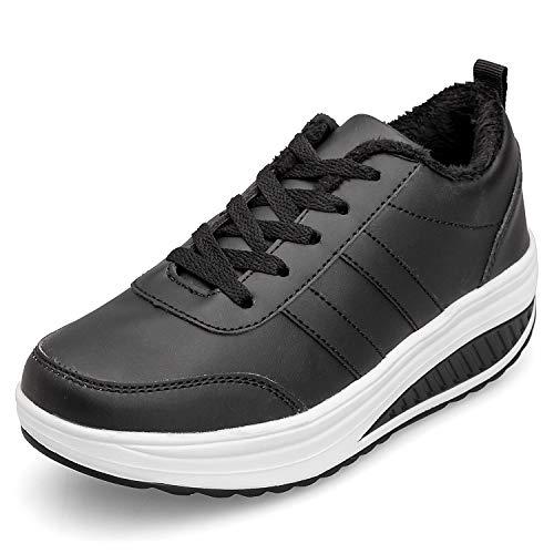 Scarpe Ginnastica Donna Invernali Zeppa Scarpe Dimagranti Sneaker Casual Tennis Piattaforma Running Fitness Sportive Outdoor Scarpe Passeggio Nero 35EU = Produttore:36