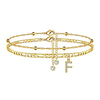 Amazon - Save 55%: Ursteel Ankle Bracelets for Women, 14K Gold Plated Dainty Layered Figaro Ch…