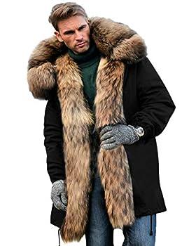 Aofur Mens Winter Warm Thick Faux Fur Slim Trench Coat Long Jacket Parka Hooded Pea Coat Winter Coat S-XXXL  XXX-Large Black