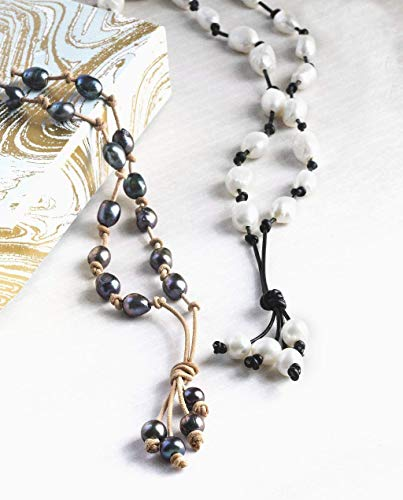 Bib Necklace with Pearl and Leather Tahitian Style Necklace Hawaii Inspired Necklace Bohemian Chic Casual Necklace