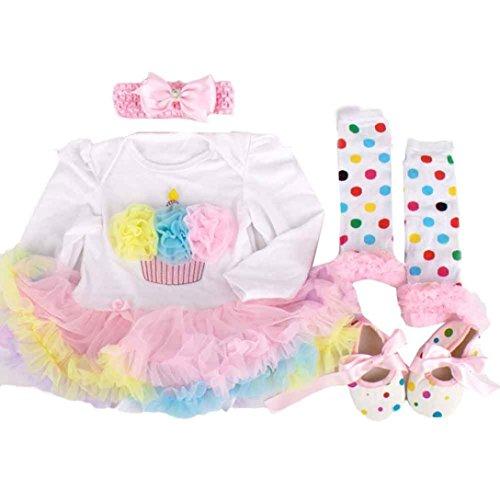 kingko® 4pcs Newborn Infant bébé Fille Romper Tutu Dress Bandeau Chaussures Chaussettes Ensembles Tenues Vêtements Bodysuit (3-6 Mois)