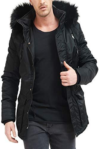 trueprodigy Casual Herren Marken Parka Kunstfell Herrenjacke Kapuze Anorak Sportlich Slim Fit Winterjacke Männer, Größe:XXL, Farben:Schwarz