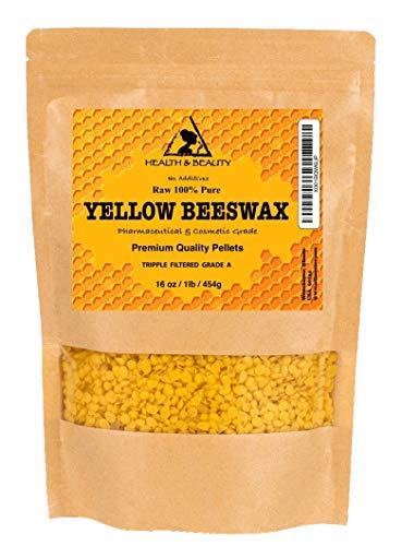 Yellow Beeswax Bees Wax Organic Pastilles Beads 100% Pure 16 oz, 1 LB, 454 g