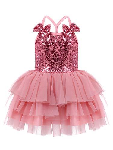 TiaoBug Baby Mädchen Festlich Kleid Pailletten Partykleid Ärmellos Blumenmädchenkleid Glitzer Stirnband Hochzeit Festzug Outfits Altrosa Stufenrock 74-80