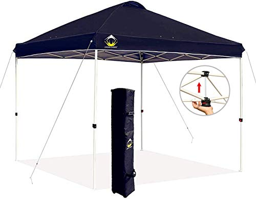 CROWN SHADES 10x10 Pop up Canopy Outside Canopy, Patented One Push Tent Canopy with Wheeled Carry Bag, Bonus 8 Stakes and 4 Ropes, Beige