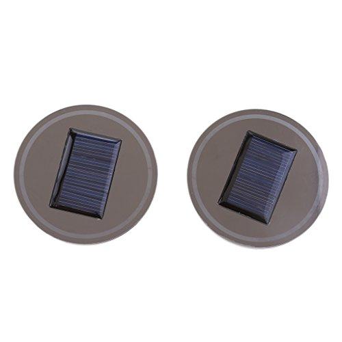 perfk 2x Soporte de Copa Soporte de Vaso de Luz Solar LED Botella Impermeable Decoración de Luz LED Interior Coche