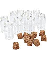 Fliyeong 20 st genomskinliga små miniglasburkar flaskor med korkstoppare/drivande önskningsflaska/meddelande bröllop önskan smycken fest favoriter storlek: 18 x 10 mm bärbar och användbar