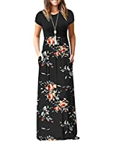 AUSELILY Women Short Sleeve Loose Plain Casual Long Maxi Dresses with Pockets Rose Black