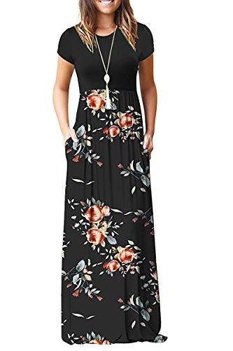 MISFAY Women Short Sleeve Loose Plain Maxi Dresses Casual Long Dresses Pockets (Rose Black, L)