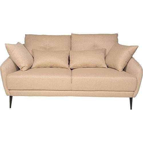 Meubletmoi Cosy 7749 - Sofá de 2 plazas, tejido beige con 4 cojines cómodos – Diseño clásico Lounge