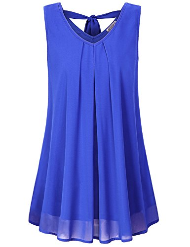 MOQIVGI Womens Chiffon Blouses,Spring Summer Fashion 2020 V Neck Double Layer Bow Tie Tops Solid Color Sleeveless Tunic Tanks for Leggings Ladies Hawaiian Shirt Soft Surroundings Blue Medium