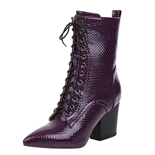 RQWEIN Lace Up Leatherette Ankle Bootie Women's Mid Calf Leather Boots High Heel Military Buckle Motorcycle Cowboy Booties Purple