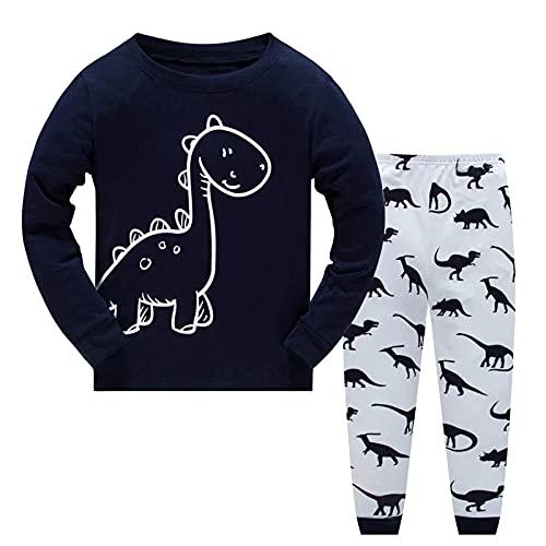 MingLaken Pijama para nio, 100% algodn, excavadora, bomberos, dinosaurios, cohete, pijama de dos piezas 92, 98, 104, 110, 116, 122, Dinosaurio Azul Oscuro, 92 cm
