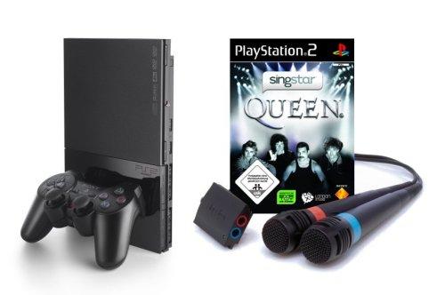 PlayStation 2 - PS2 Konsole, black + SingStar Queen inkl. Mikrofone