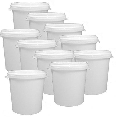 10 x 30 Liter Eimer leer Leereimer weiß Hobbock Futtermischeimer mit Deckel weiss