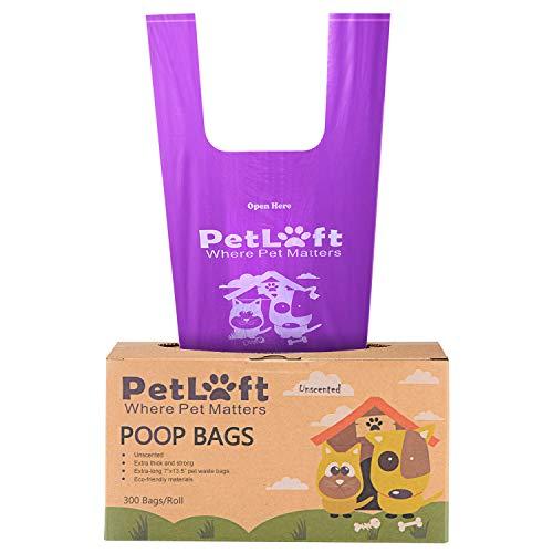 PETLOFT Hundekotbeutel, 300-Count Durable Biologisch Abbaubare Hundekottasche Poop-Tasche mit Einem Frischen Duft und EPI-Technologie in Einfach-Krawatte Griff Design