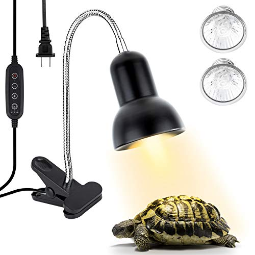 Reptile Heat Lamp,Timing Heat Lamp,Clamp Lamp for Aquarium Adjustable Light and Temperature with Holder UVA UVB Basking Lamp with 360°Rotatable Clip for Turtle Snake Aquarium(2 Pack Lamp Bulb Include)