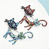 LEILEIMY Broche Brobo Adorable de Chat, 2 Colores, Mascota, Fiesta, Regalos para Mujeres y Hombres Accesorios (Couleur métallique : Blue)