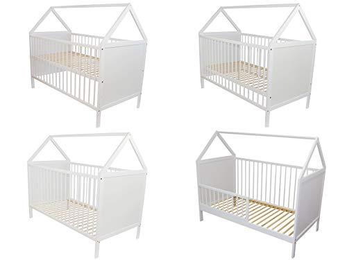 Multifunktionales Babybett-Haus 140×70cm aus Holz (weiß)
