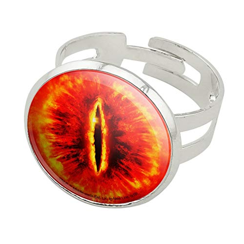 GRAPHICS & MORE Lord of The Rings Eye of Sauron Silver Plated Adjustable Novelty Ring