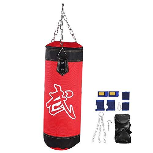 Boxsack Set, 7+1 Gefüllt Kickboxen Kampfsport Muay Thai Punchingsack mit Stahlkette, Karabinerhaken, Boxbandagen uzw. (60CM-rot)