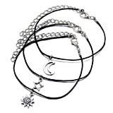 Moon Star Anklet Bracelet Boho Sun Crescent Wax Rope Beach Foot Chain Jewelry for Women and Girls