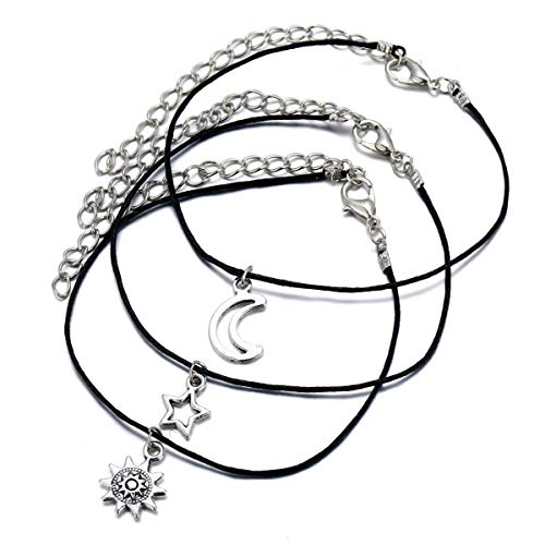 Sun Moon Star Anklet for Women 3 Pcs Wax Rope Crescent Bracelets Beach Foot Chain Jewelry Silver Plated Girls Teens