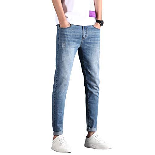 Pantalones Vaqueros de Verano para Hombre, Pantalones de Mezclilla Finos Ajustados, Casuales y cómodos, Pantalones de Mezclilla Ajustados, Casuales y cómodos 33W