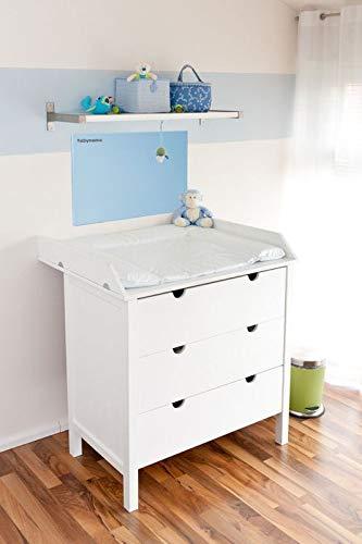 Mini Infrarot Wickeltischheizung 200W in rosa oder blau mit Gravur des Wunschnamen auf Anfrage, Farbe:Blau (Blau)