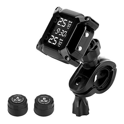 Jansite Motorrad TPMS Wireles Reifendrucküberwachungssystem mit 2 externen Sensoren LCD-Display Auto-Alarmsystem Anti-Off & wasserdicht Wasserdicht