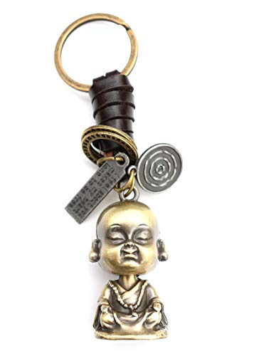 AuPra Buddha Statute Leather KeyRing Best Friend Gift Idea Women & Men Buddhist Home KeyChain Mum & Dad Teacher Handbag Buddhism Charm Girl & Boy Car Budha Key Ring Pendant