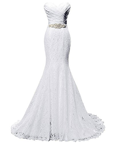SOLOVEDRESS Women's Lace Wedding Dress Mermaid Evening Dress Bridal Gown with Sash (US 8,White)